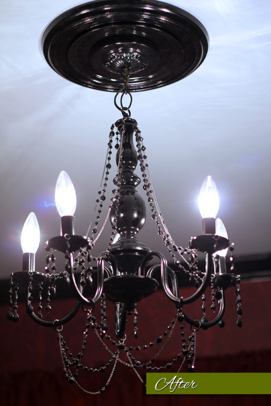 My chandelier makeover of black beaded necklaces then went to work with my needle nose pliers when all was said and done i spent less than 100 to make this chandelier aloadofball Gallery